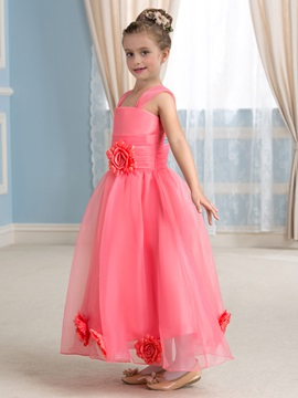Admirable Square Neck Flowers Watermelon Red Flower Girl Dress