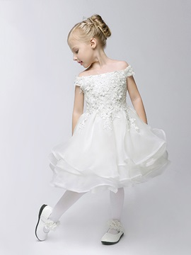Cute Off the Shoulder Knee Length Flower Girl Dress