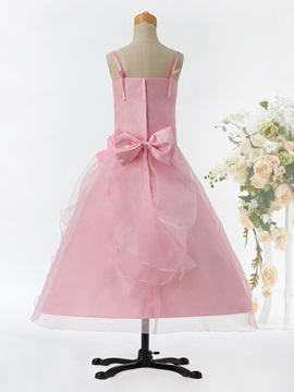 Spaghetti Straps Zipper-Up Bowknot A Line Flower Girl Dress