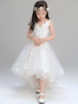 Beautiful Spaghetti Straps Asymmetry A Line Flower Girl Dress