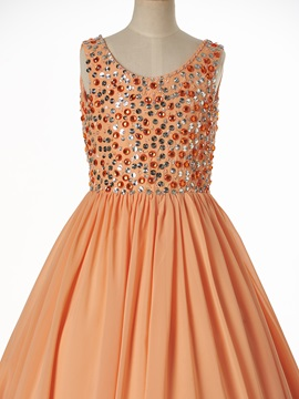 Simple Scoop Sleeveless Lace-Up A Line Flower Girl Dress