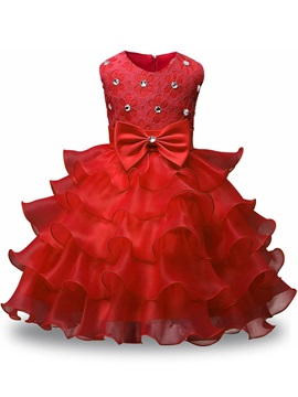 Amazing Straps Beading Tiered Ball Gown Flower Girl Dress