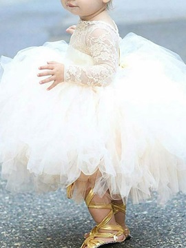 Dramatic Long Lace Sleeve Ball Gown Tulle Girls Party Dress
