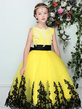 Fancy Straps Sashes Appliques Flower Girl Dress