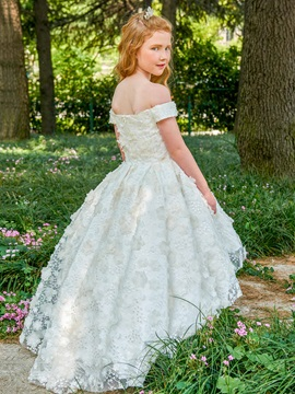 Off the Shoulder Lace High Low Flower Girl Dress