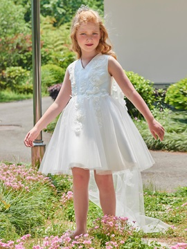 Modern V-Neck Appliques Short Watteau Train Flower Girl Dress