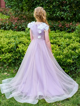 Dramatic Cap Sleeves A-Line Flowers Girl Party Dress