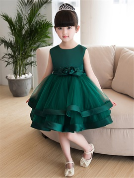 Delicate Straps Flowers Bowknot Girls Party Dress