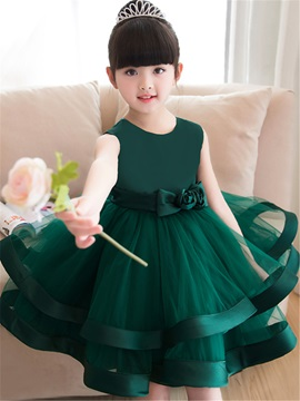 Straps Flowers Bowknot Knee-Length Girls Party Dress