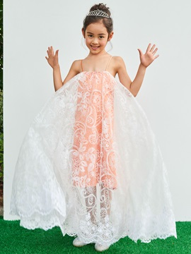 Parent-Child Spaghetti Straps A-Line Lace Girls Party Dress
