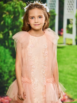 Lace Tiered Tea-Length Girls Party Dress