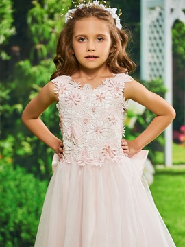 Lace Top Bowknot Back Girls Party Dress