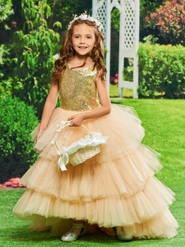 Sequined Tiered Tulle Backless Girls Party Dress
