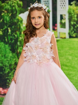 Dramatic A-Line Tulle Flowers Girls Party Dress