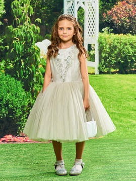 A-Line Lace Beading Girls Party Dress