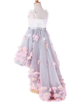 Straps Flowers High Low Girl's Party Dress