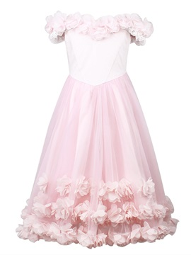 Off the Shoulder Flowers Girl's Party Dress