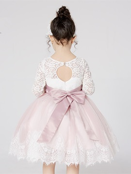 Long Sleeve Lace Knee-Length Flower Girl Dress