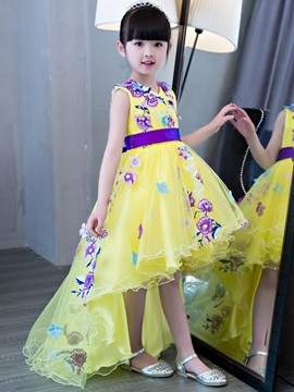 A-Line Straps Flowers Asymmetry Flower Girl Dress