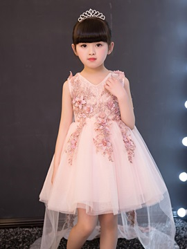 Lace Appliques V-Neck Flower Girl Dress with Train