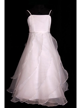 Spaghetti Straps A-Line Sequins Ruffling Flower Girl Dress