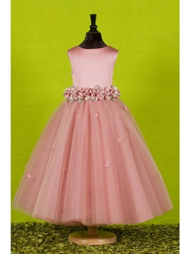 Attractive A-Line Ankle-length Round-neck Flowers Embellishing Flower Girl Dress
