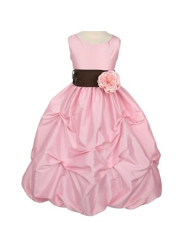 Ball Gown Floor-length Scoop Ruched Flower Embellishing Flower Girl Dress