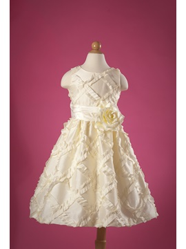 A-Line Round-Neck Tea-length Ruched Flower Girl Dress