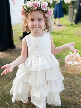 Sleeveless A-Line Tea-Length Tiered Flower Girl Dress 2020