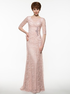 Elegant V Neck Half Sleeves Sheath Lace Mother the Bride Dress