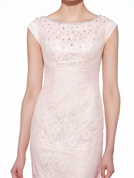 Charming Scoop Neck Beaded Lace Knee Length Mother of the Bride Dress