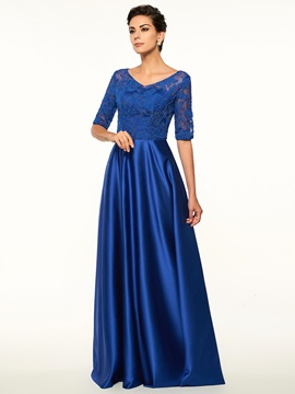 Lace Top Half Sleeve Mother Of The Bride Dress