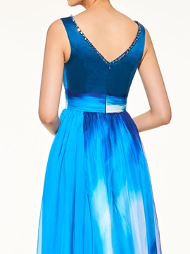 Fashionable V-Neck Beading Printing Mother of the Bride Dress