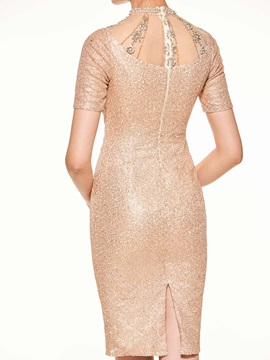Shining High Neck Pearls Sheath Sequined Mother of the Bride Dress