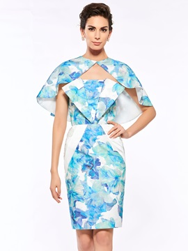 Attracitve Strapless Sheath Printing Mother of the Bride Dress with Shawl