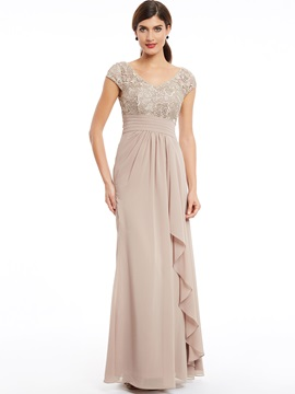 Elegant V Neck Cap Sleeves Ruffles Sheath Evening Dress