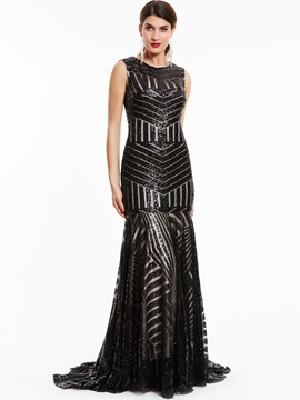Elegant Scoop Neck Zipper-Up Sequins Mermaid Evening Dress