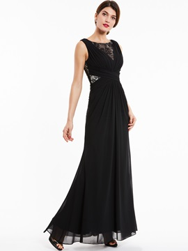 Bateau Neck Sleeveless Lace A Line Evening Dress