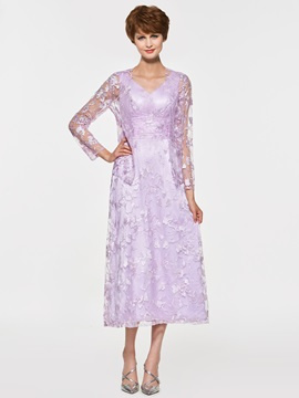 A-Line V-Neck Tea-Length Lace Mother of the Bride Dress with Jacket