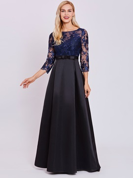 Bateau Neck Sequined Appliques A Line Evening Dress