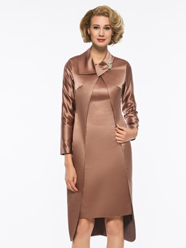 Ladylike Straps Knee-Length Mother of the Bride Dress with Long Sleeves Jacket