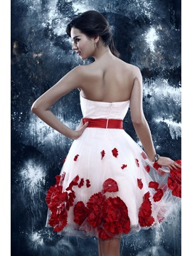Lovely A-Line Strapless Beading Flowers Knee-Length Sandra's Sweet 16 Dress