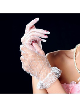 Elegant Transparent Wedding Bridal Floral Lace Gloves