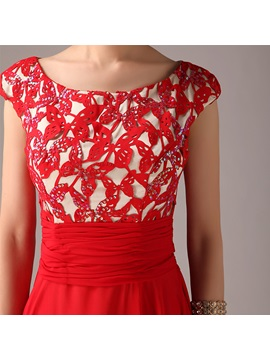 Pretty Appliques Sequins Scoop Neckline Cap Sleeves Red Prom Dress