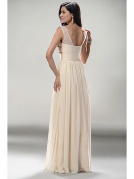 Fashion A-Line Scoop Neckline Floor-Length Zipper-up Prom Dress