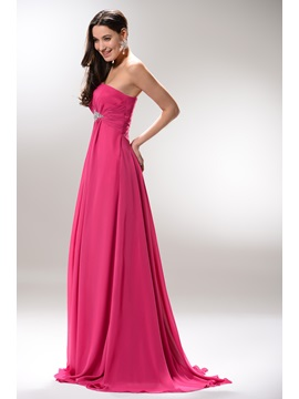 Hot Selling Strapless Empire Waist Beading Long Prom Dress