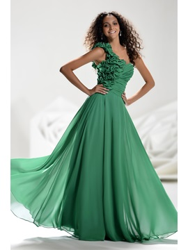 Glamorous One-Shoulder Flowers Beading Floor-Length Ruched A-Line Prom Dress