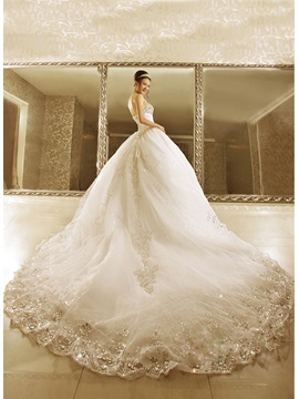Luxurious Strapless Beads Ball Gown Cathedral Train Lace-up Wedding Dress