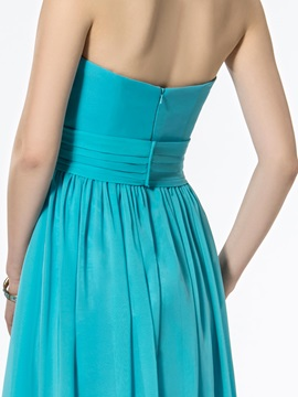Cheap Ruched A-Line Strapless Zipper-up Simple Floor-Length Prom Dress