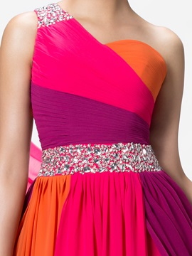 Colourful One-Shoulder Beading Ruched Long Prom Dress Designed